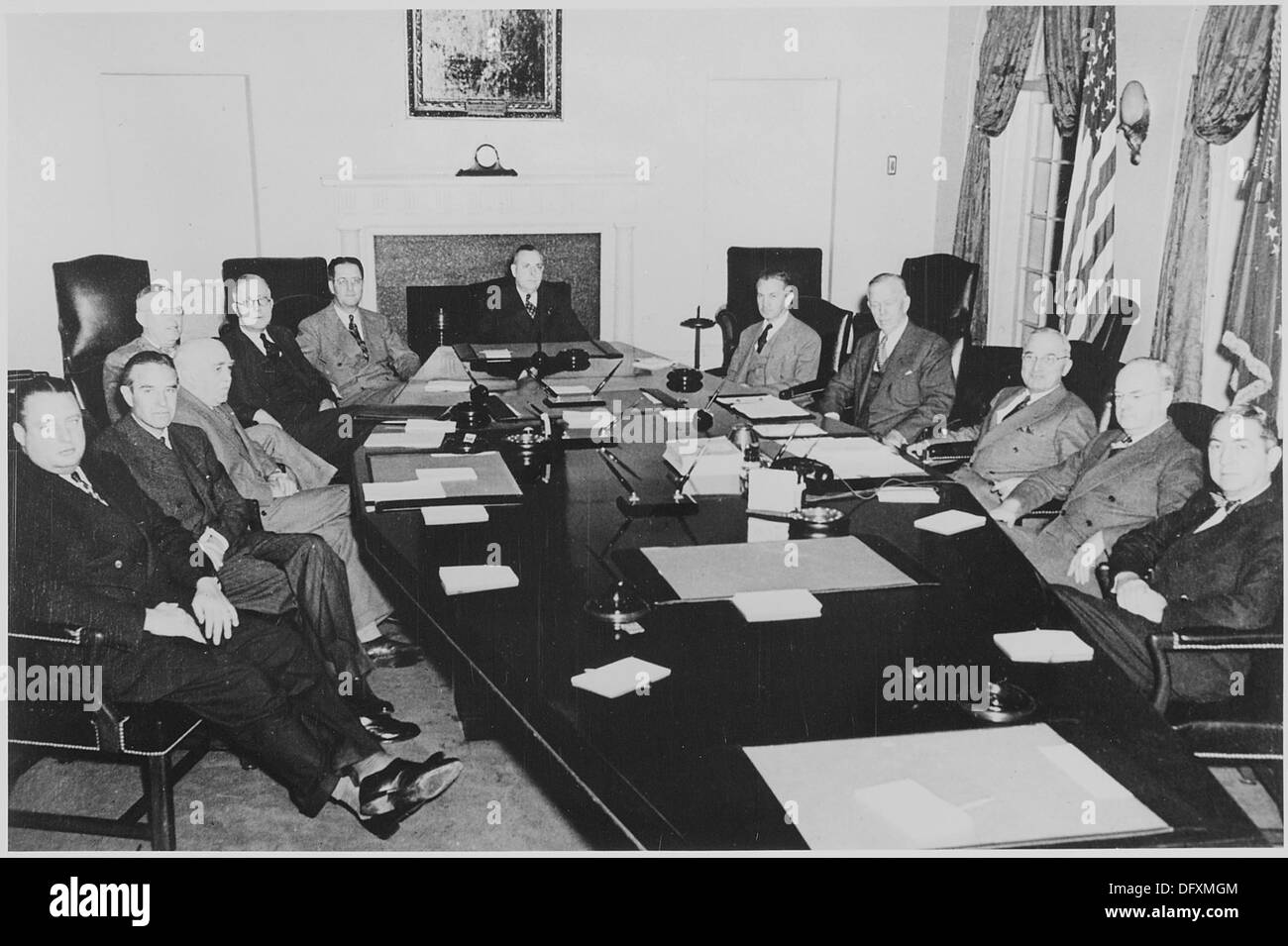 President Truman and his cabinet in the Cabinet Room of the White ...
