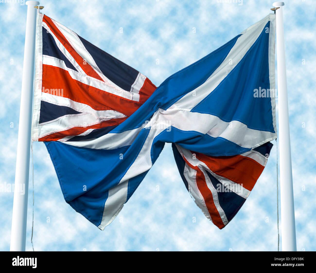 uk union jack flag and scottish saltire st andrew u0027s cross flag in