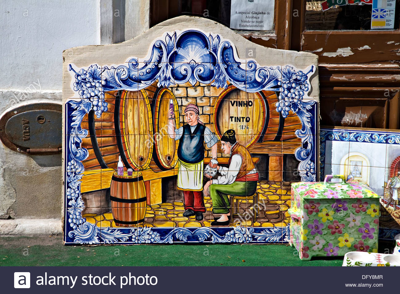 mexican kitchen colors on of authentic handcrafted and hand portuguese culture of hand painted tiles depicting wine cellar alcobaa portugal stock image