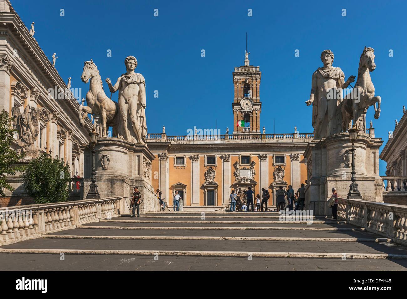 Ramp Stairs (cordonata) To Piazza Del Campidoglio. In The Background Is The  Senatorial Palace (Palazzo Senatorio), Rome, Italy