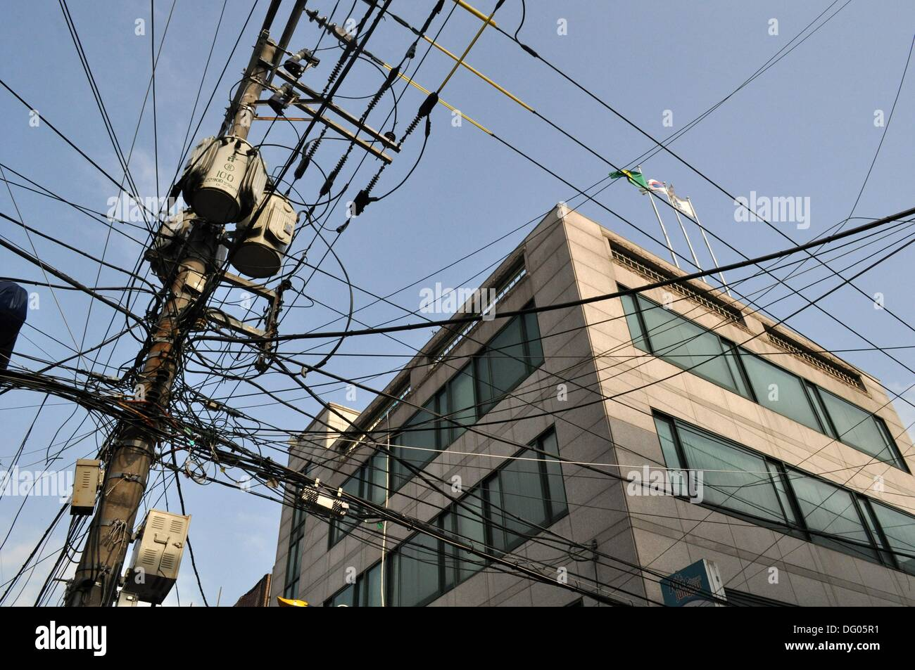 Busan (South Korea): electricity wires mess in the city center ...