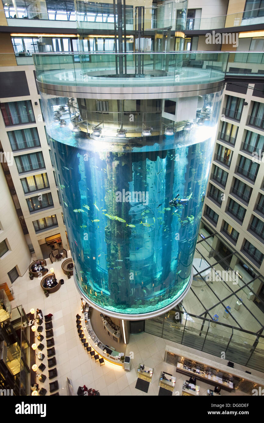 Aquarium tank inside the lobby of radisson hotel berlin for Fish hotel tank