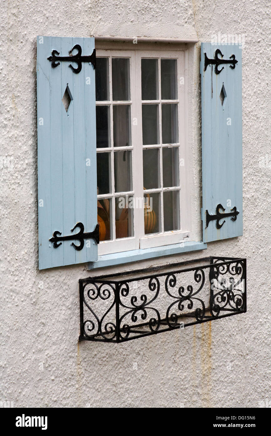 Window With Light Blue Shutters And Wrought Iron Window Box At Lyme Stock Photo Royalty Free