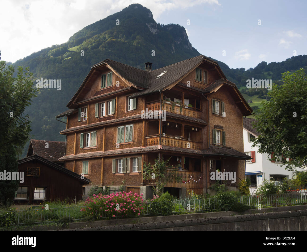 Traditional Wood Paneled House In Gersau By Lake Lucerne