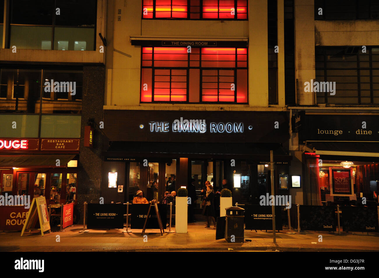 The Living Room Restaurant living room restaurant and bar at night manchester, uk stock photo