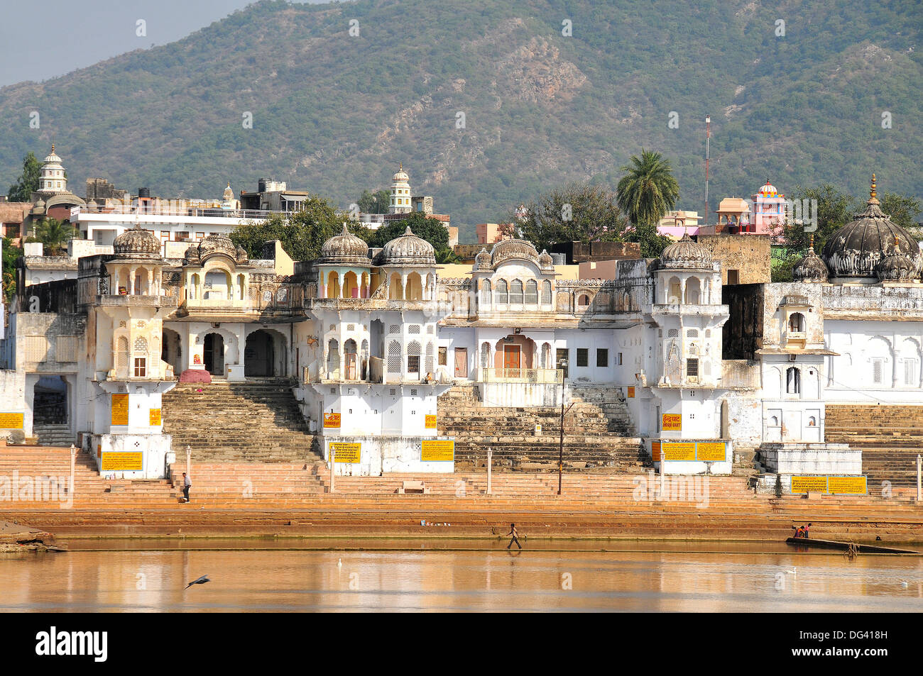Ghats At Holy Pushkar Lake And Old Rajput Palaces, Pushkar Stock ...