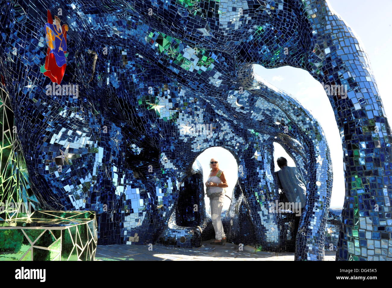 Imaginative sculpture in the tarot garden of the french - Niki de saint phalle tarot garden ...