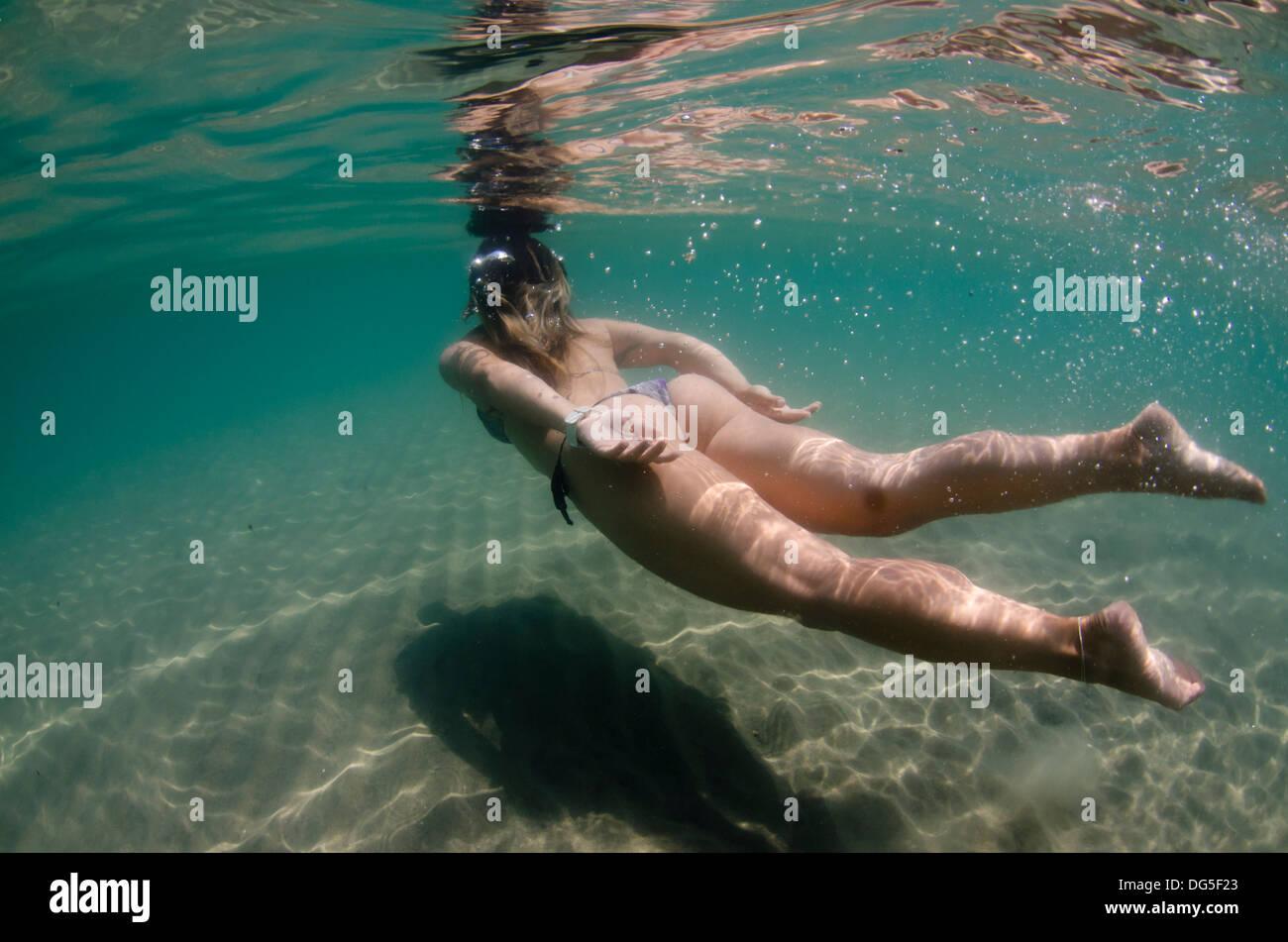 Bikini girl underwater