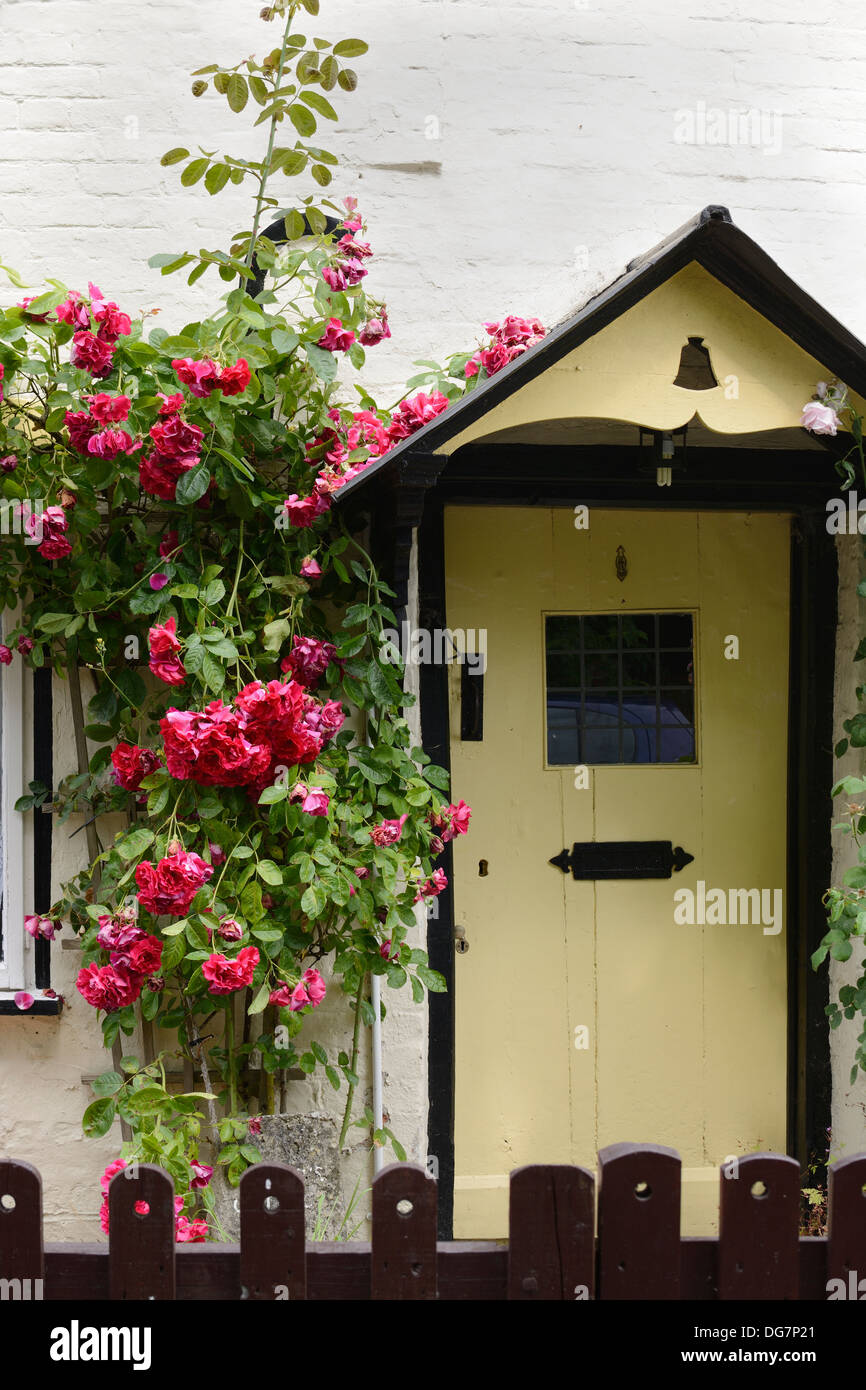 Front Door To Typical Old English Country Cottage Whitewash Stone Stock Photo