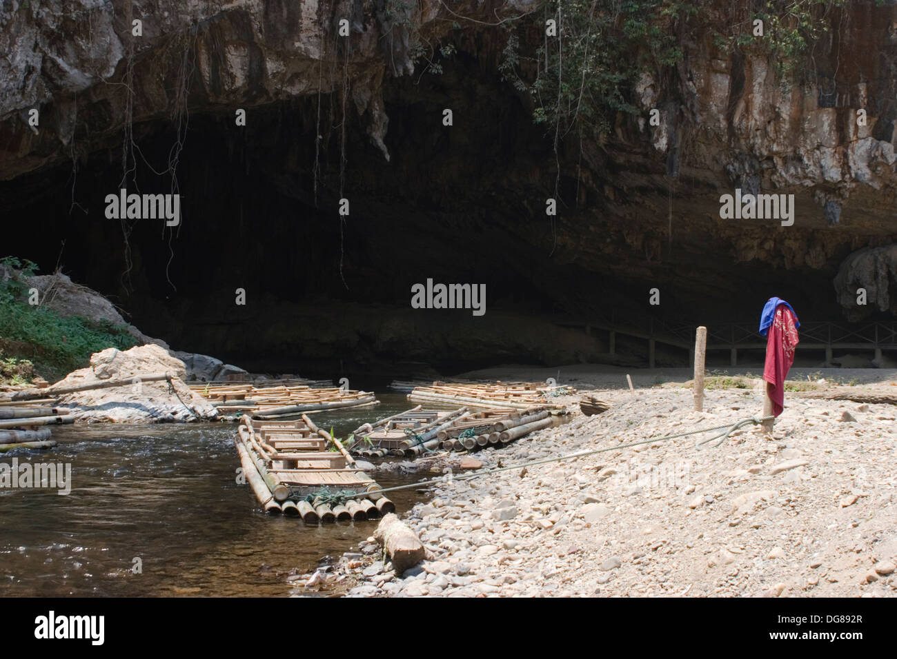 Bamboo rafts are floating on the Nam Lang River at the entrance to ...
