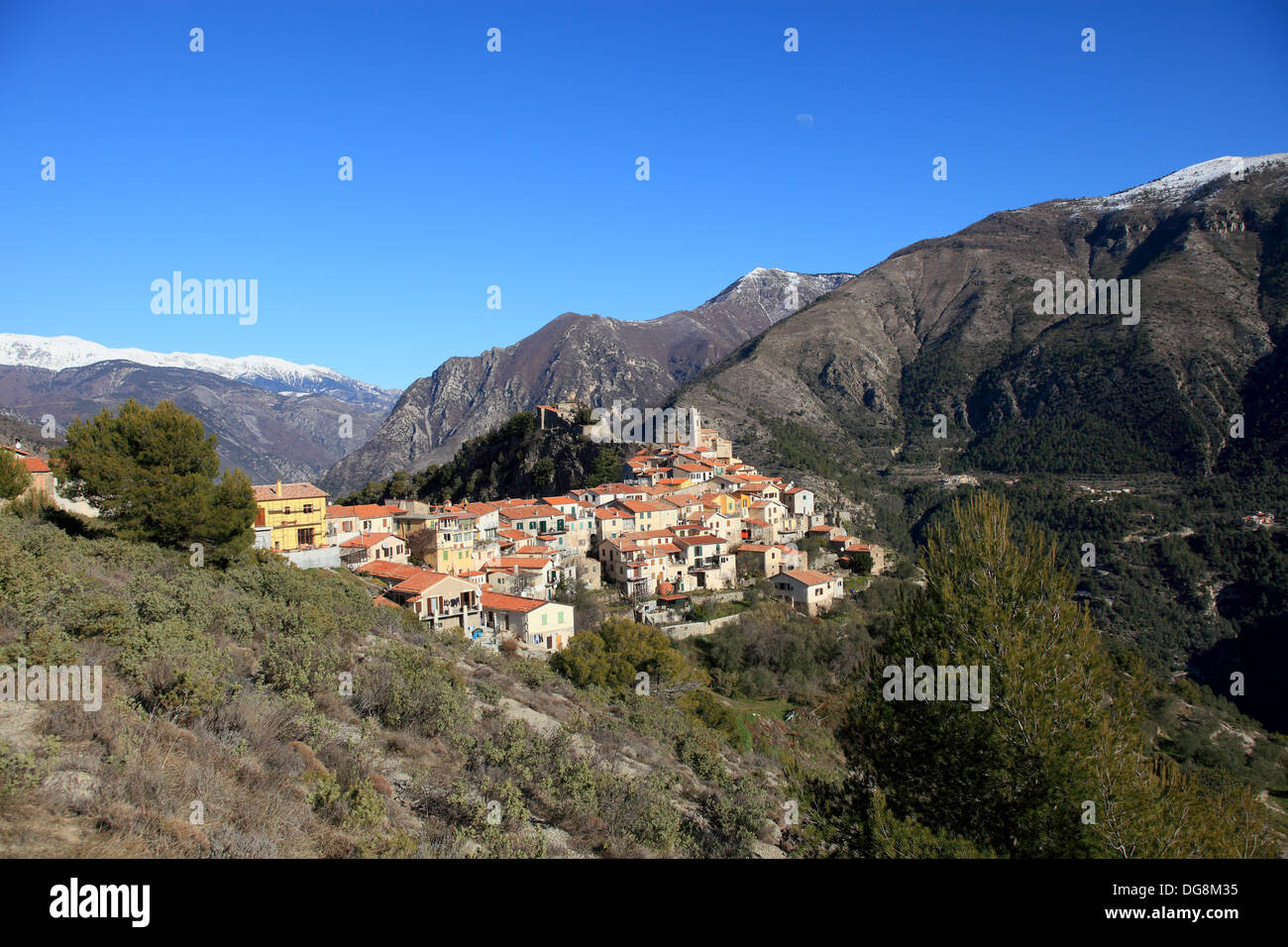 the perched village of piene haute vallee de la roya alpes