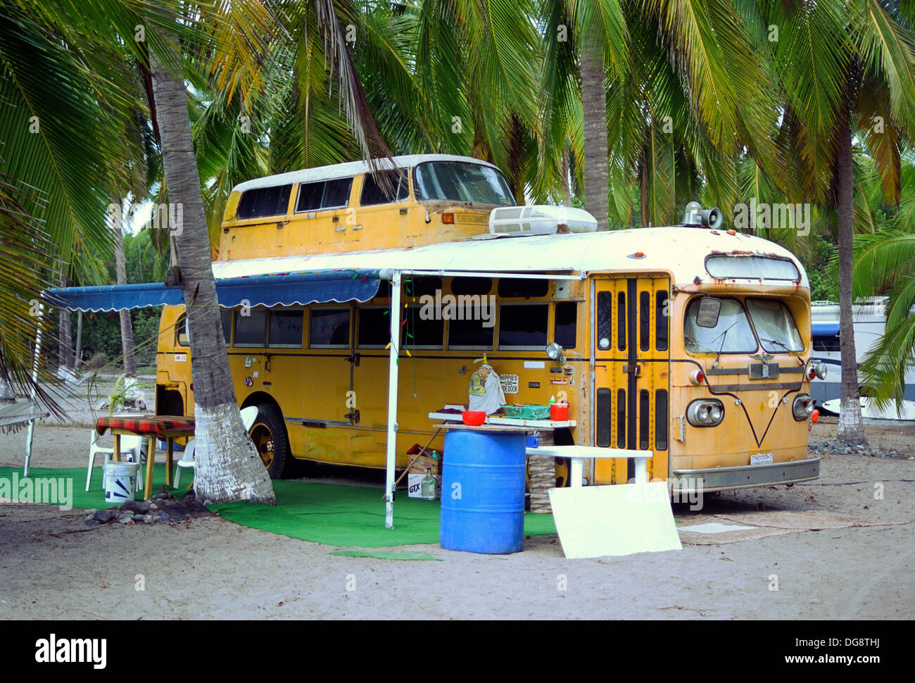Old Yellow School Bus Converted Into A Double Decker