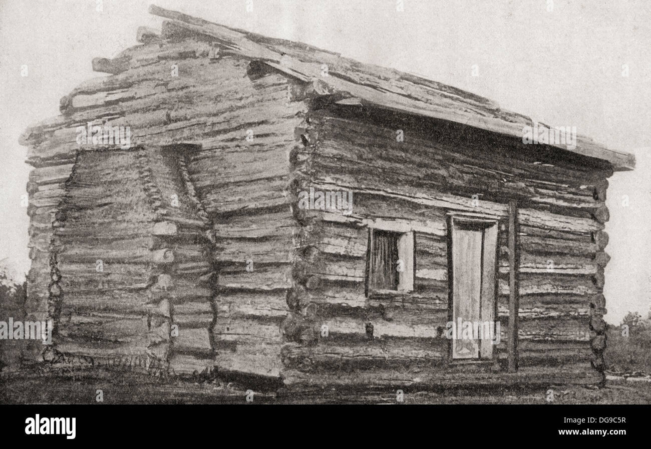 One room one window dirt floor log cabin at sinking for One room log house