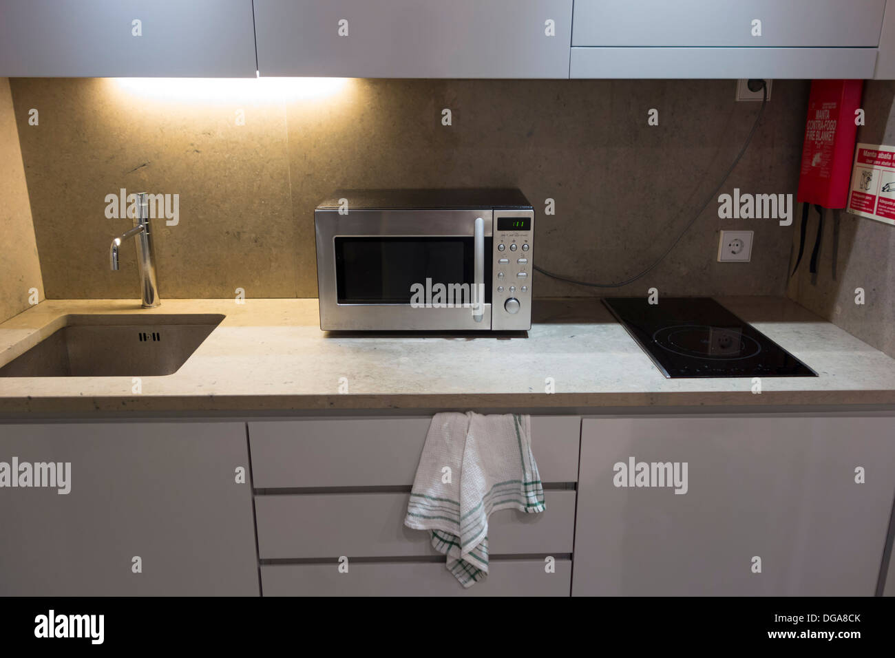 Kitchen Microwave Small Modern White Kitchen Counter With Microwave Oven Stock Photo