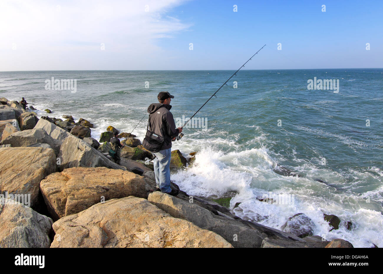 Fishing off of montauk point long island new york stock for Fishing on long island