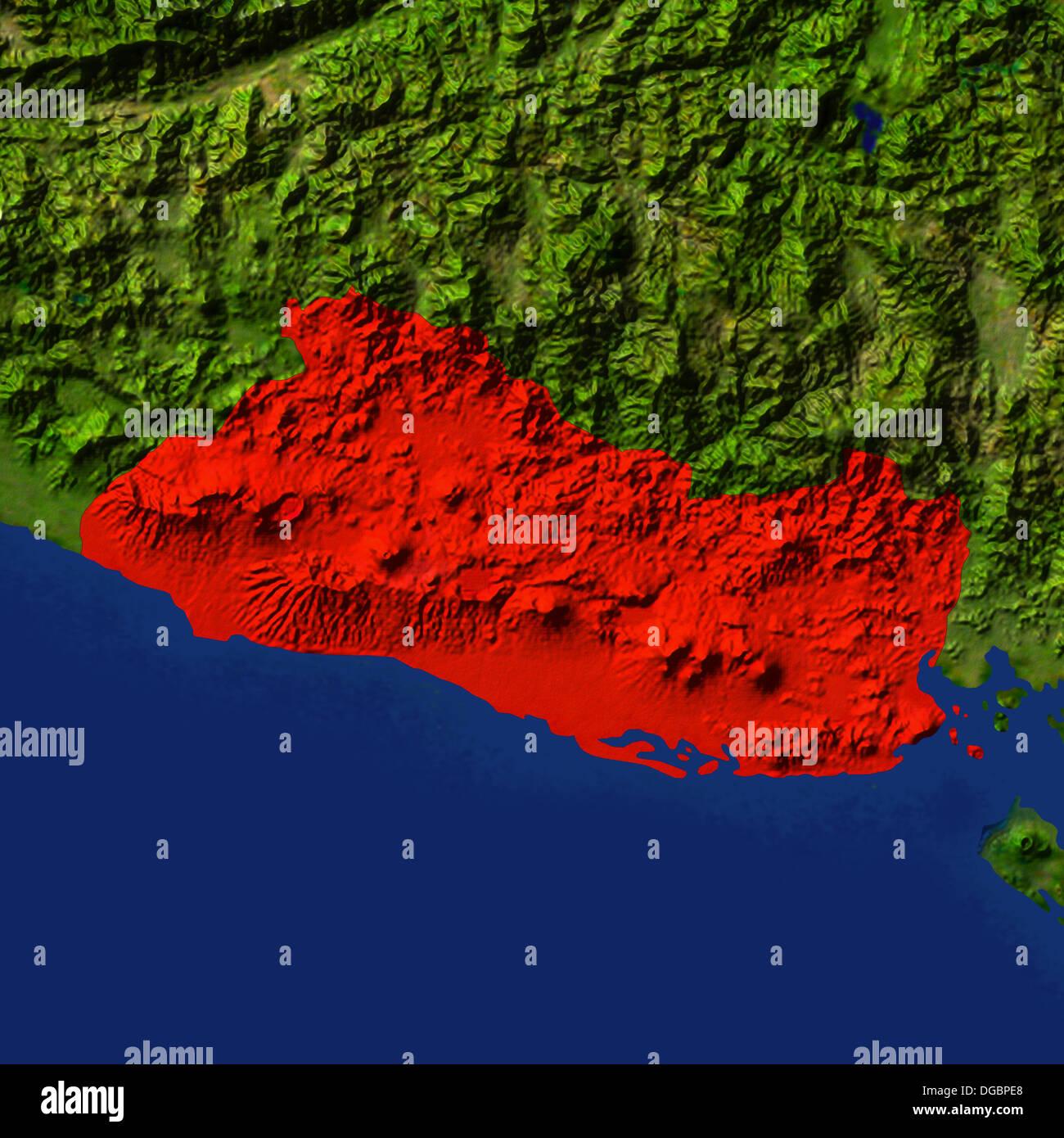Highlighted Satellite Image Of El Salvador Stock Photo Royalty - Satellite image photo of el salvador