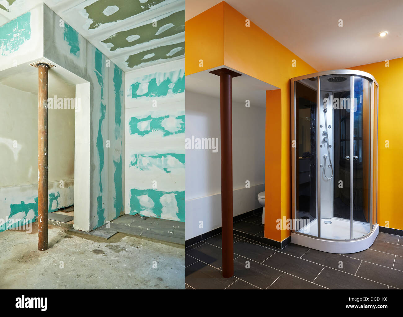 Construction of Drywall-Plasterboard bathroom Before and after ...