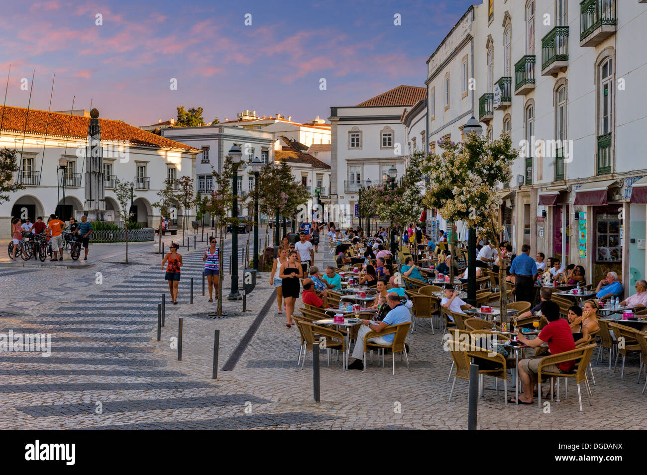 Portugal the algarve tavira caf 233 s in the praca da republica stock