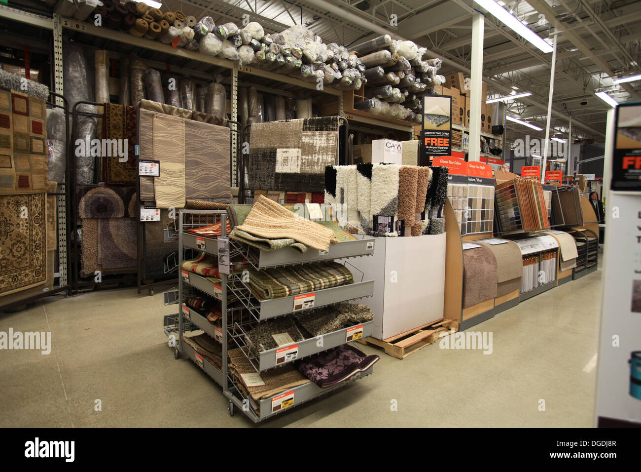 Floor carpet and rug samples on display in the home depot for Home flooring stores