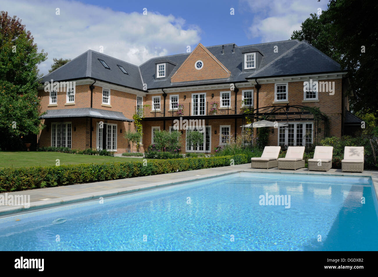 The Rear Garden Of A Large Detached House And Swimming Pool With - House with garden and swimming pool
