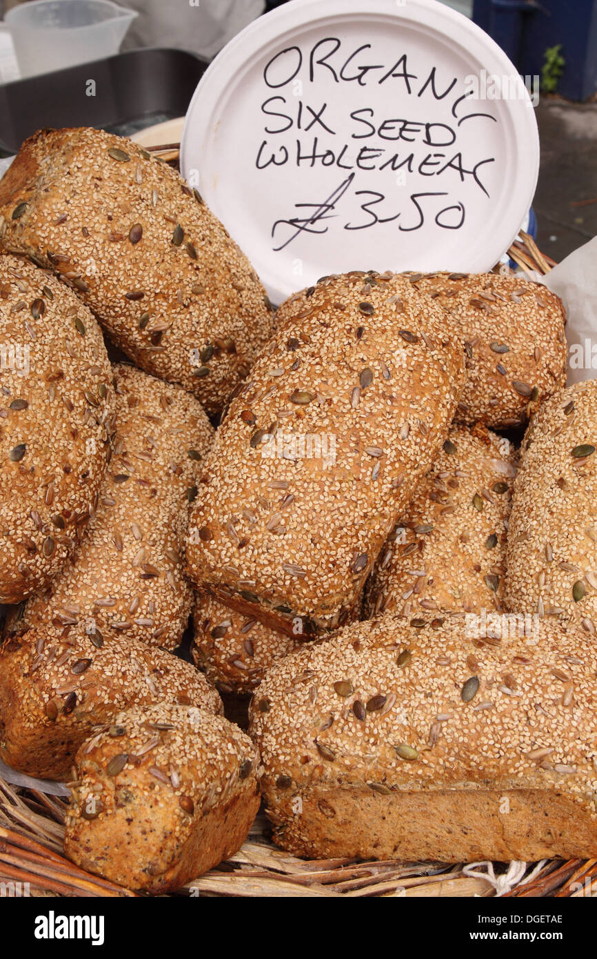 Organic Wholemeal Bread Loaf With Six Seed Types For Sale At Market In Wells Somerset Uk
