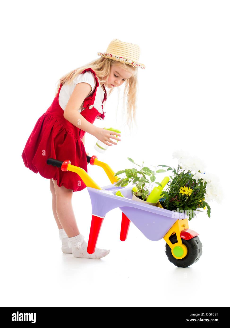 stock photo gardener kid watering tree
