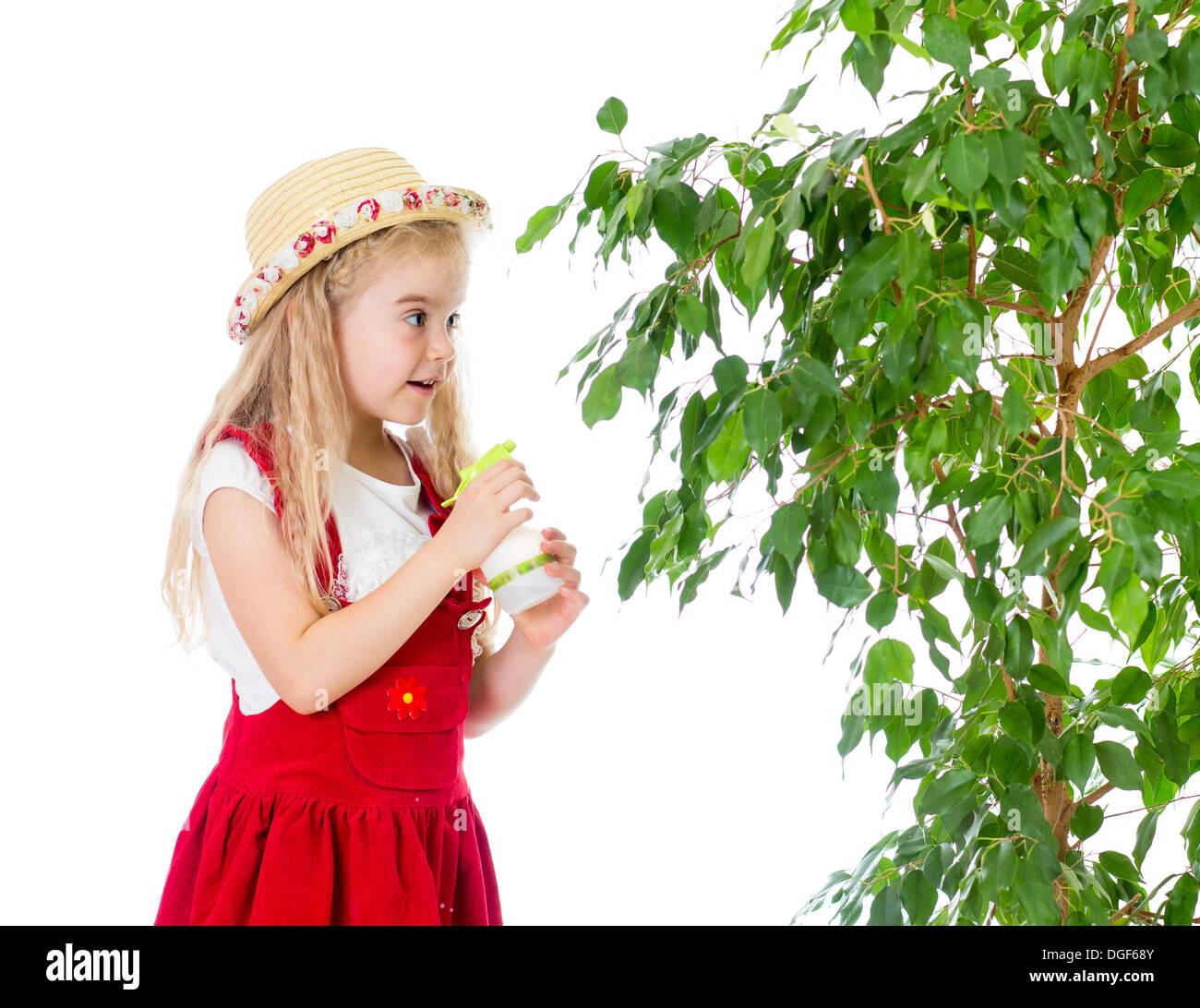 stock photo gardener kid wets or waters tree