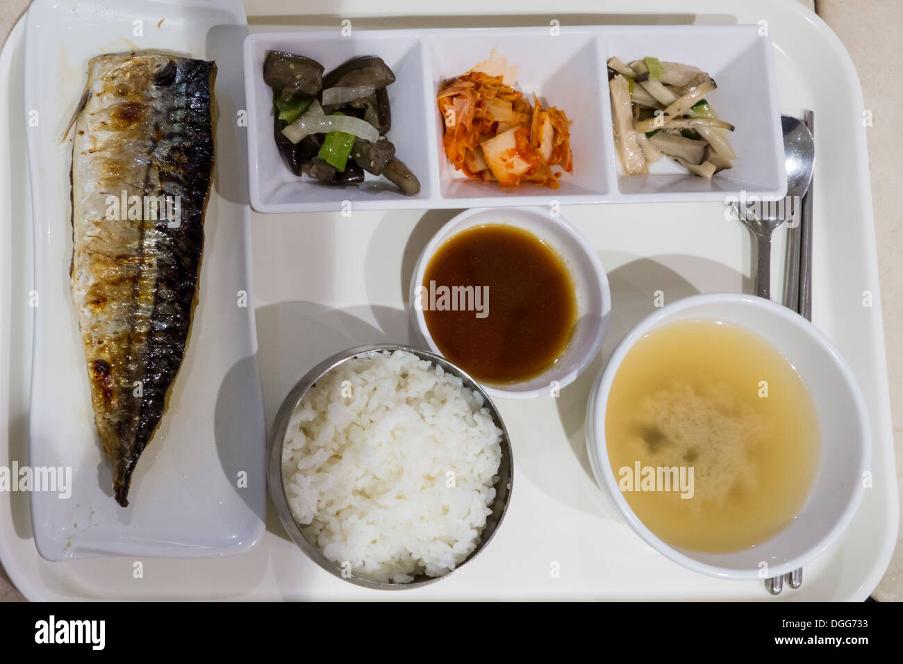 Typical self service simple menu grilled fish bowl of for Fish grill menu