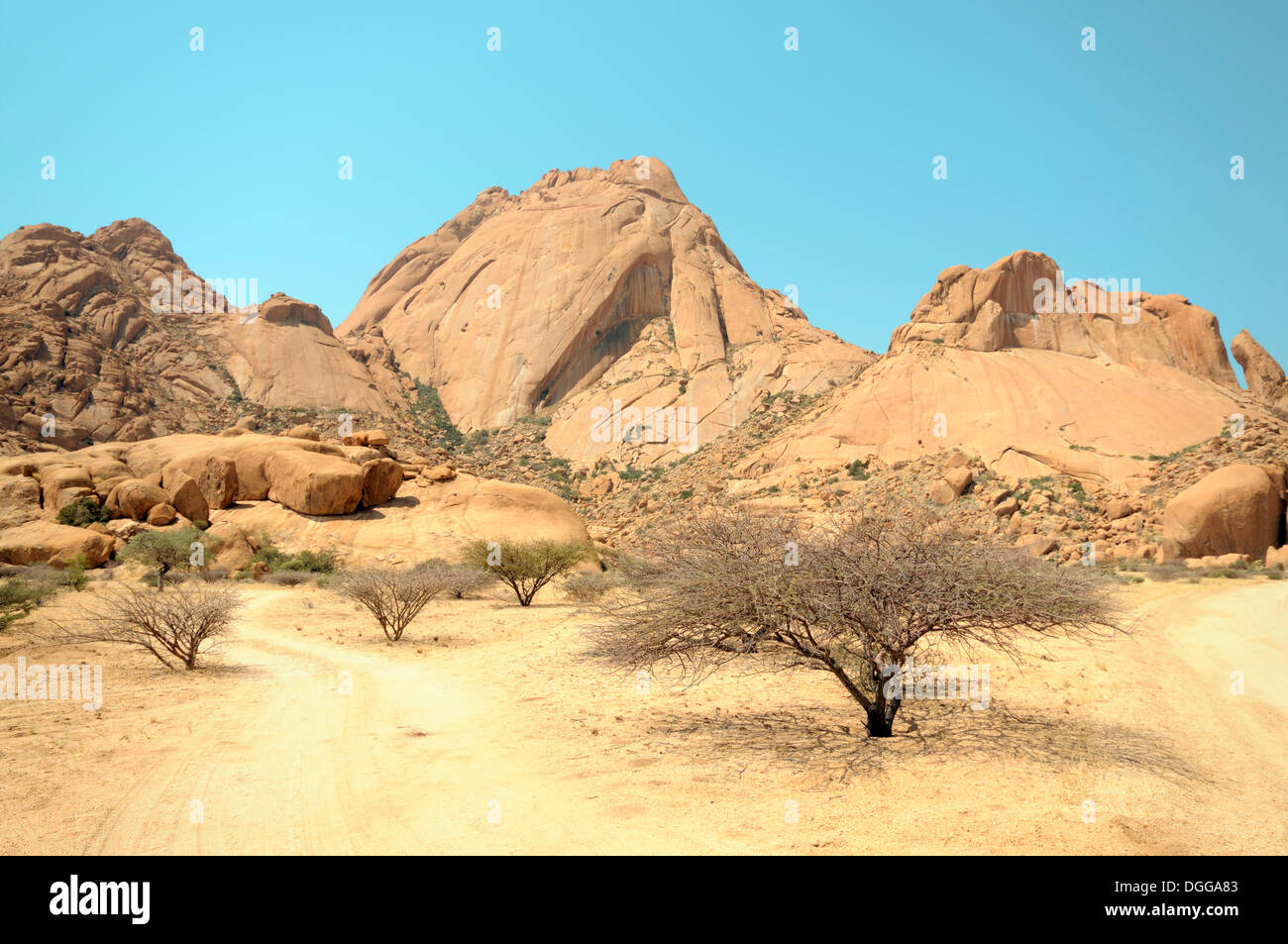 savannah landscape with granite rocks and spitzkoppe