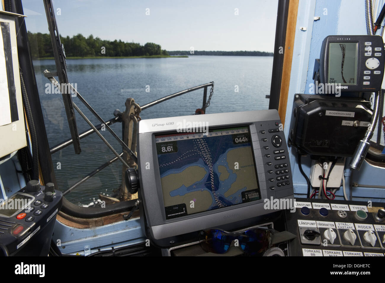 GPS Map In Control Cabin On Boat Near Hargshamn Baltic Sea - Sweden map gps