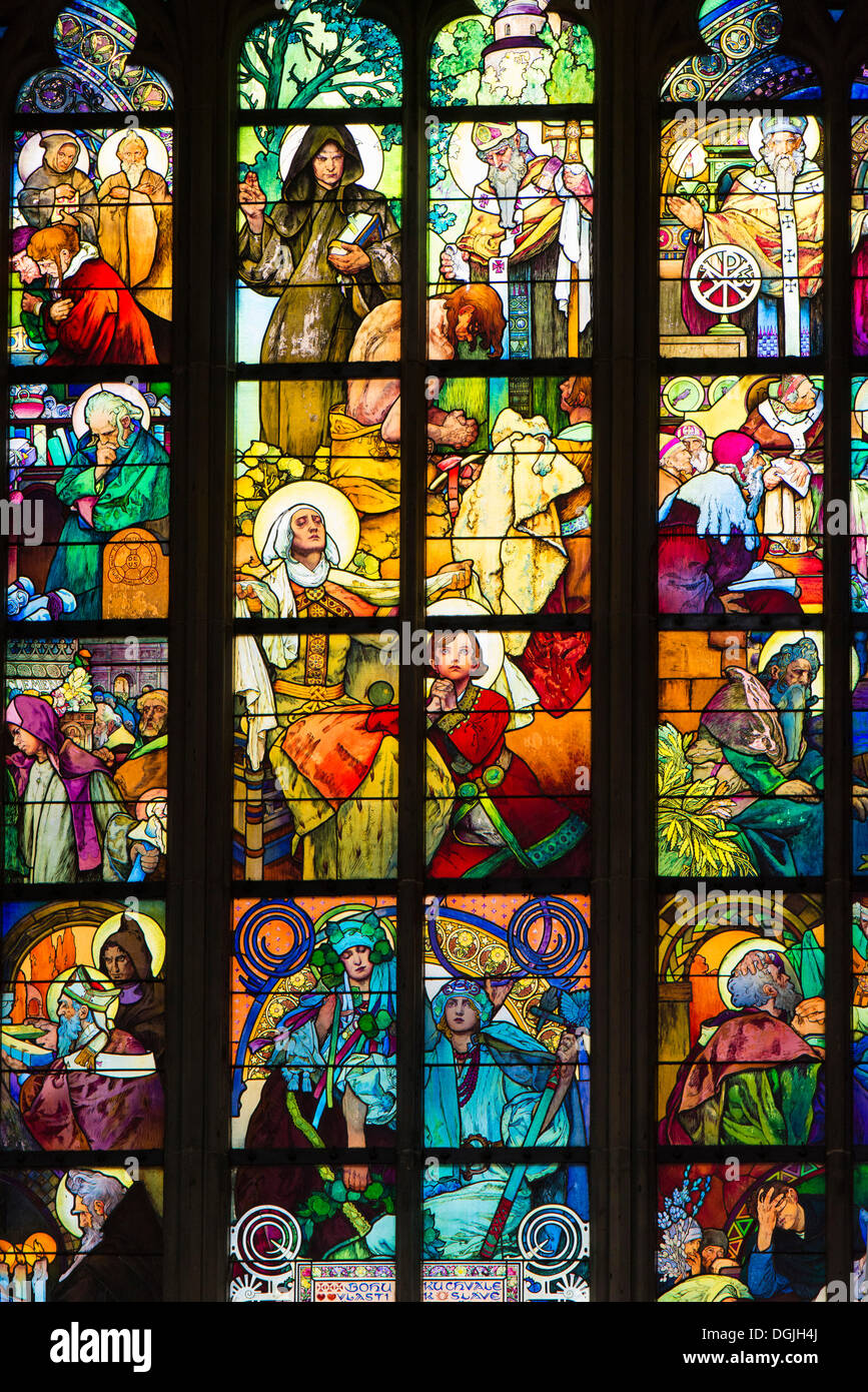 Mucha Window Stained Glass By Mucha St Vitus Cathedral