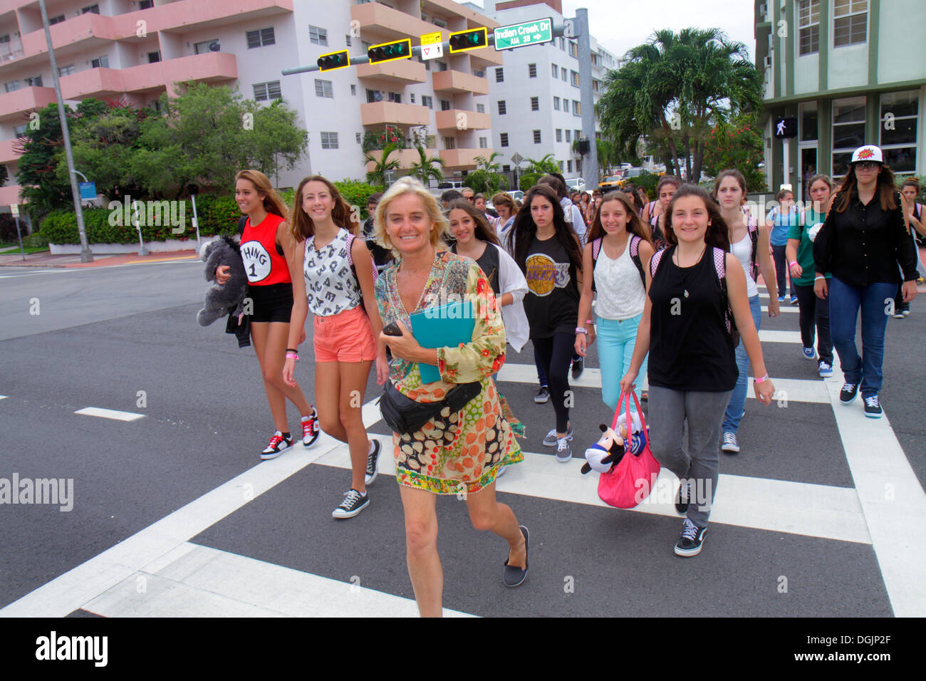 Miami Beach Florida Hispanic Woman Teen Girl Student Teacher Crossing Street Class Field Trip Argentinean