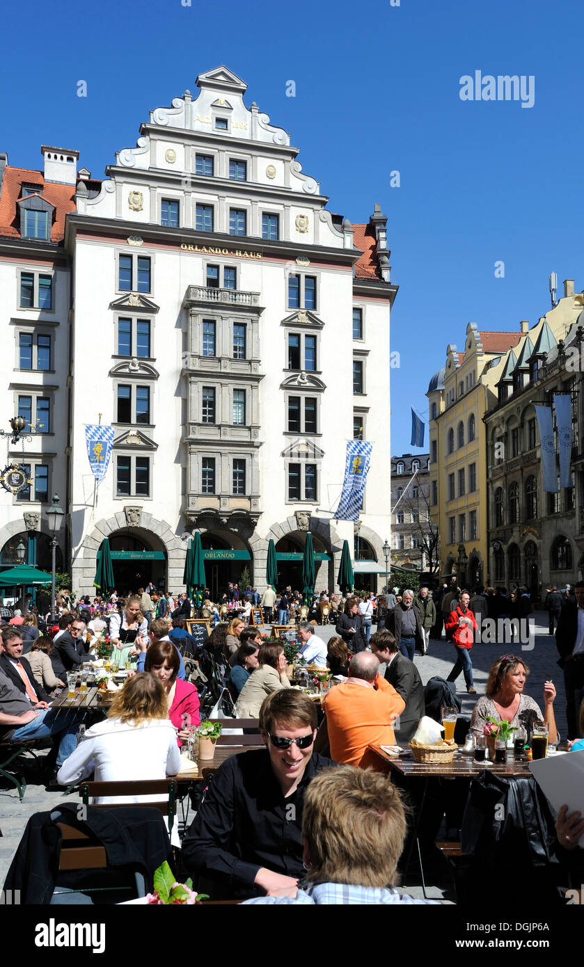 Orlando Haus orlando haus building at platzl square in munich bavaria stock