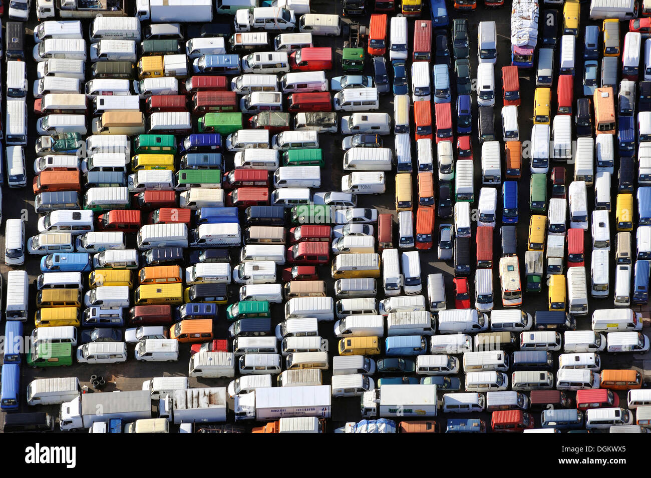 Aerial View Cars Awaiting Transport To Africa Hamburg Port Stock