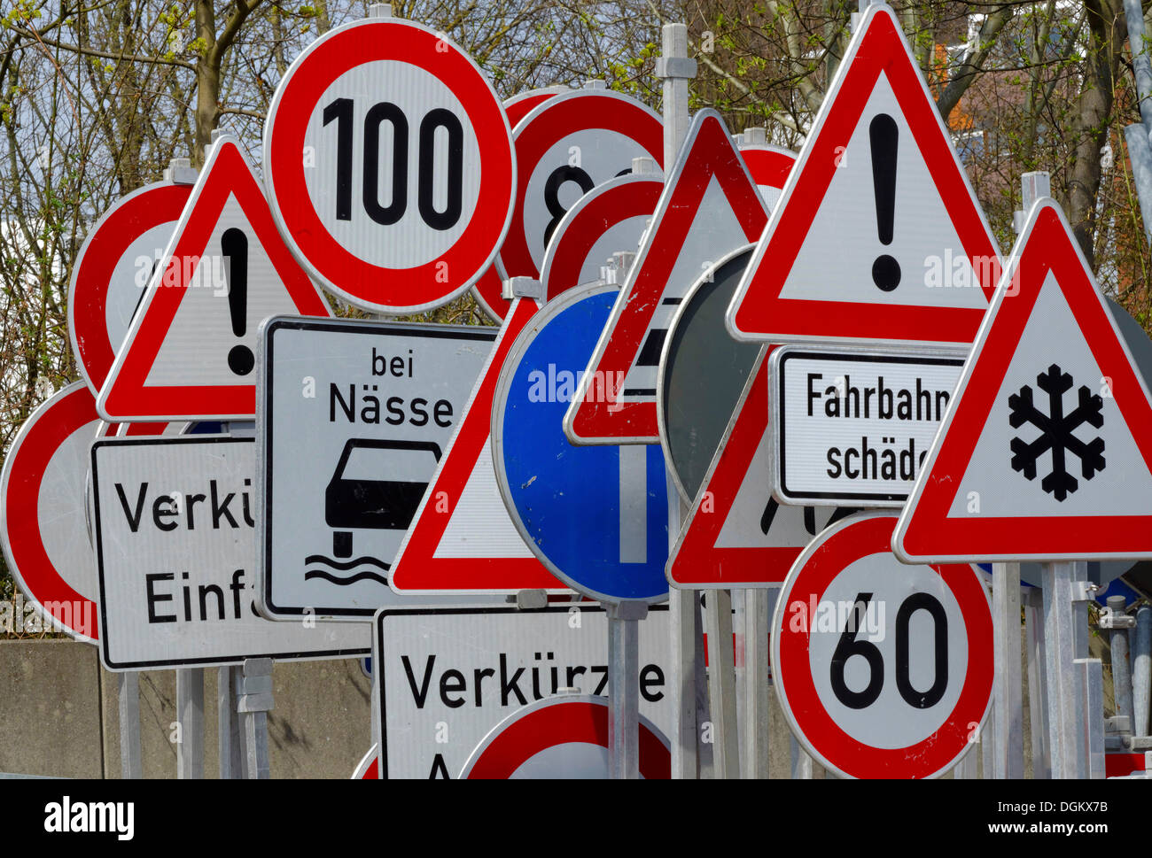 With many traffic regulation signs stock photos with many forest of traffic signs hamburg hamburg germany stock image biocorpaavc Choice Image