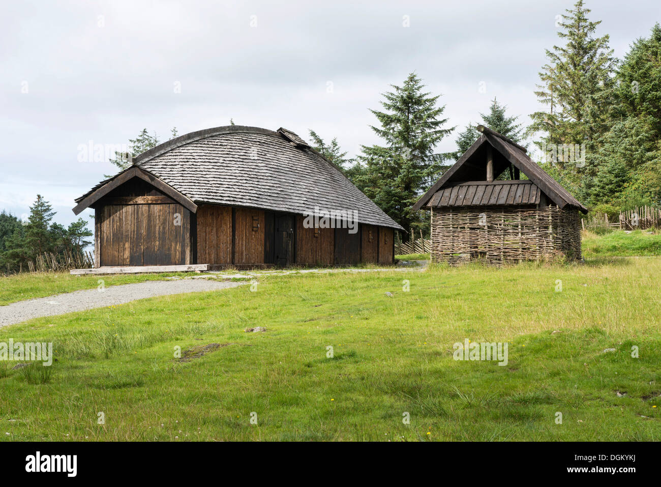 Reconstructed viking farm with a long house and a fire for How long to build a house