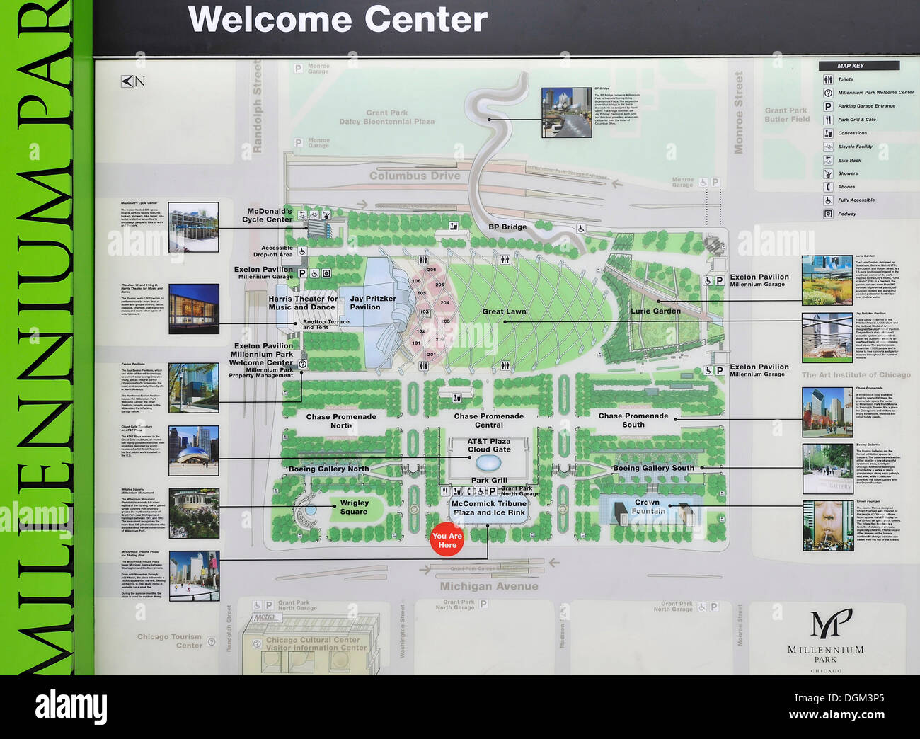 Visitor Information Map Millennium Park Chicago Illinois United States Of America Usa