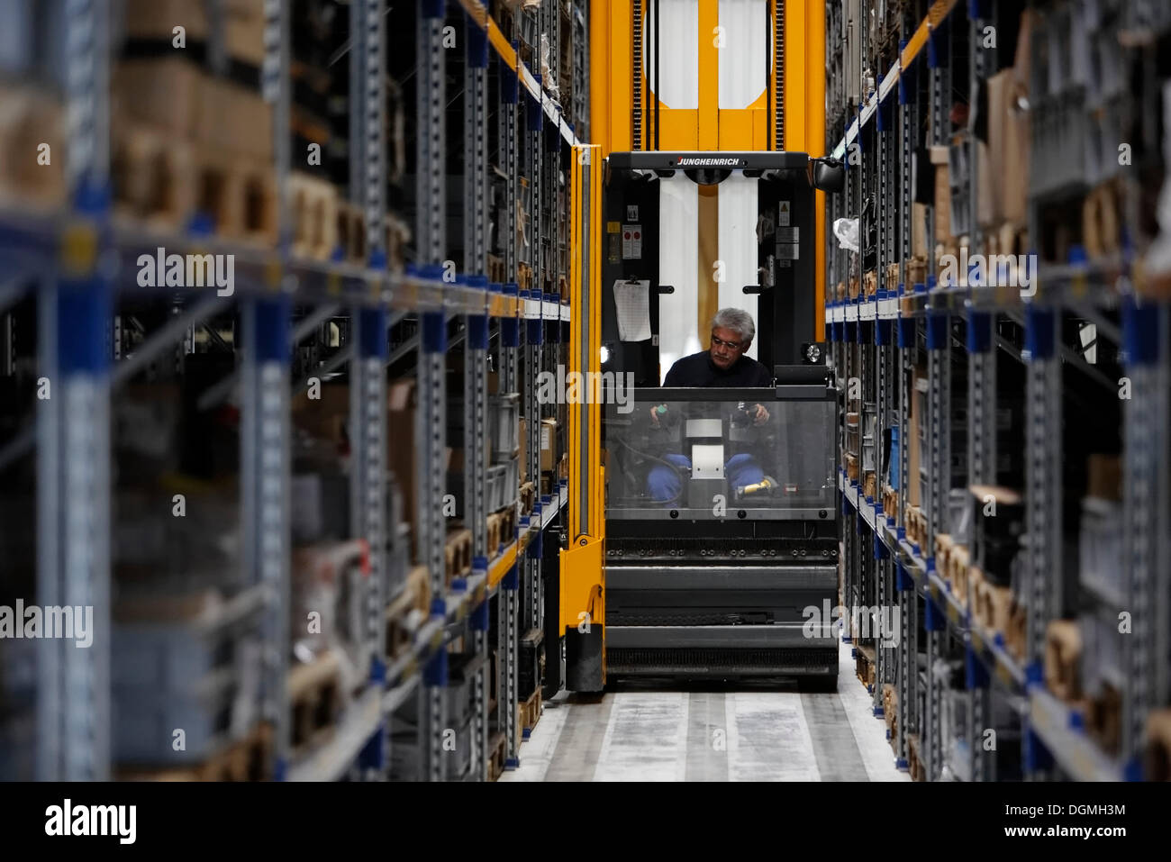 Computer controlled forklift in the high bay storage for Storage bay