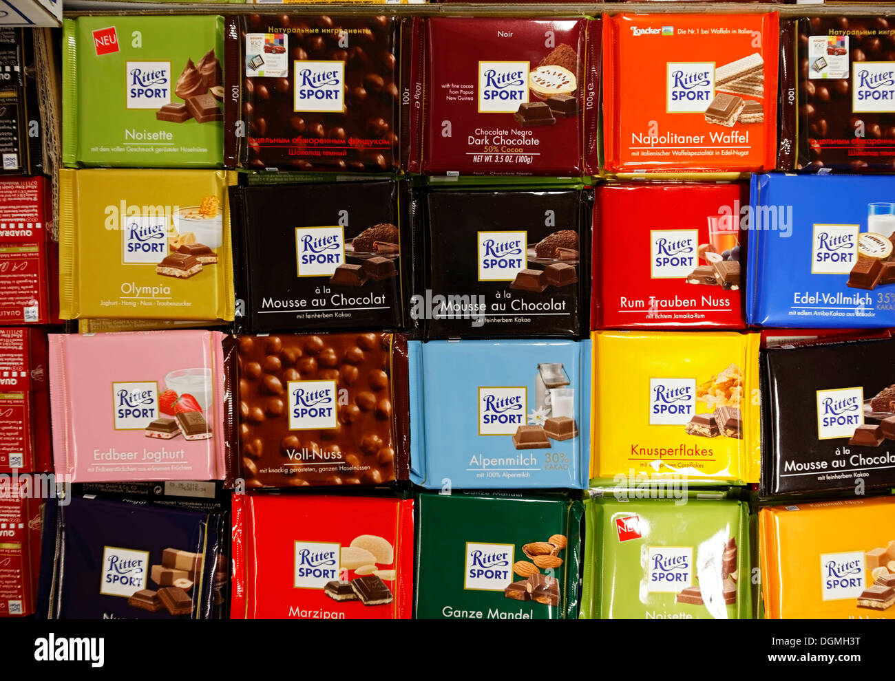 Ritter Sport chocolate in a food kiosk in Cologne Central Station ...