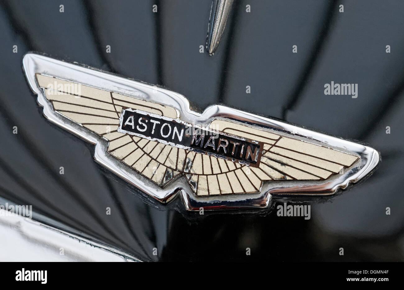 Old Aston Martin logo on the hood, British car brand for sports ...