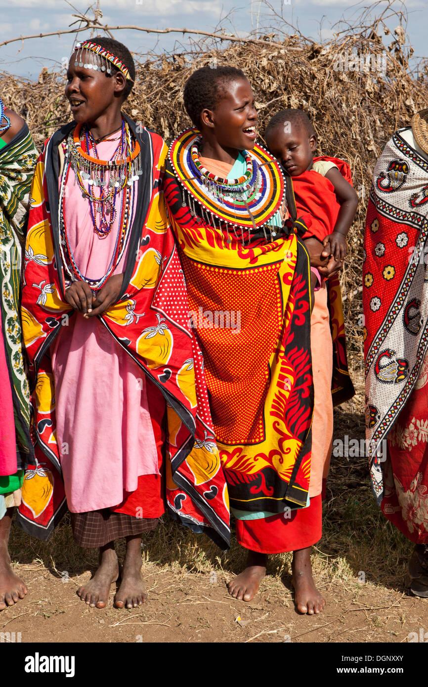 Decorated Maasai women wearing traditional dress Massai Mara Stock Photo Royalty Free Image ...