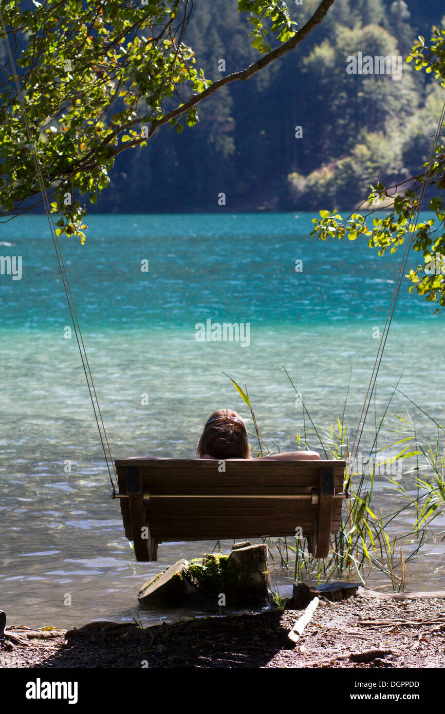 Patio Swing At A Public Bathing Spot On The East End Of Weissensee Lake,  Carinthia, Austria, Europe
