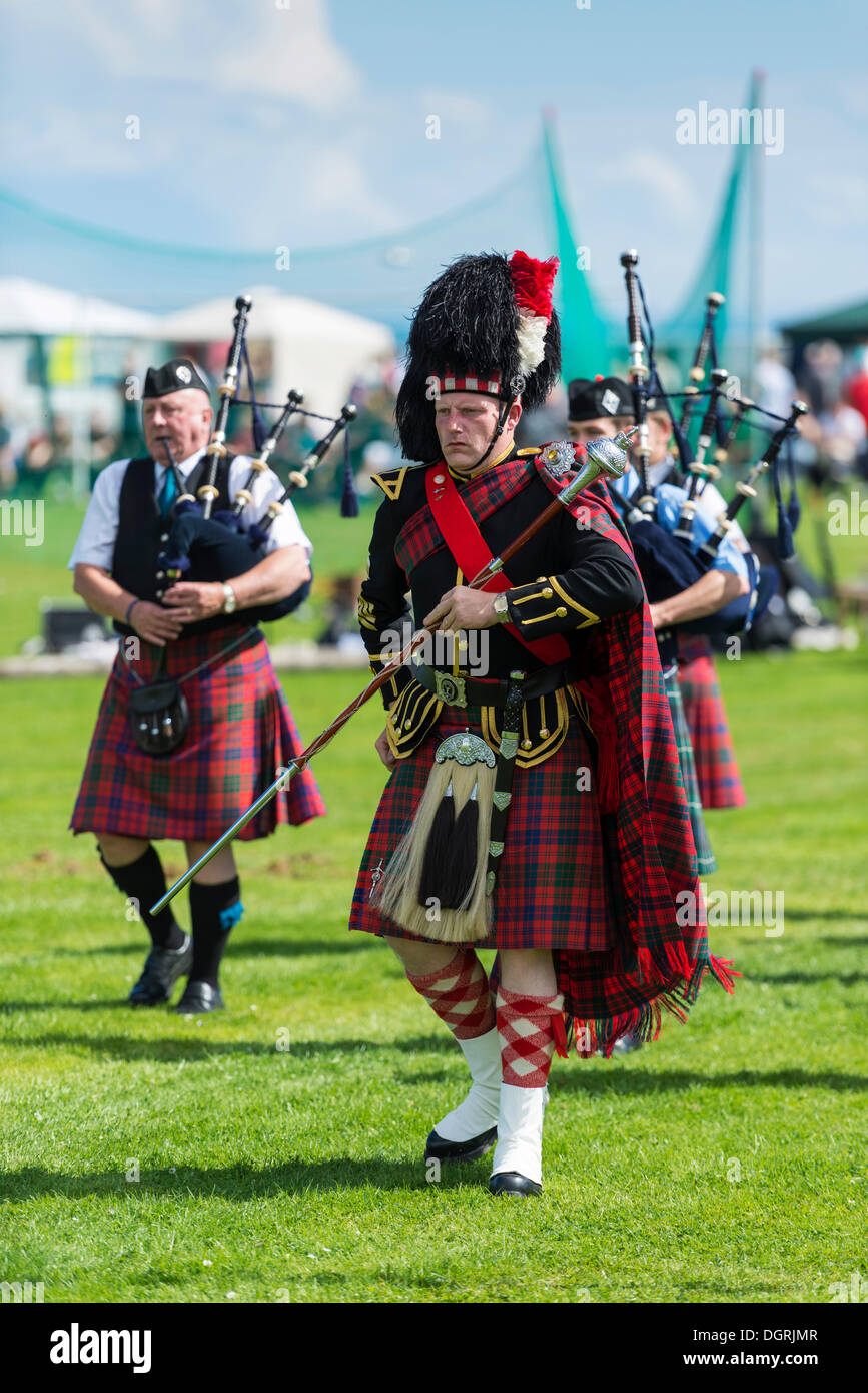 The Drum Major Leading Bagpipe Parade Helmsdale Highland Games Sutherland