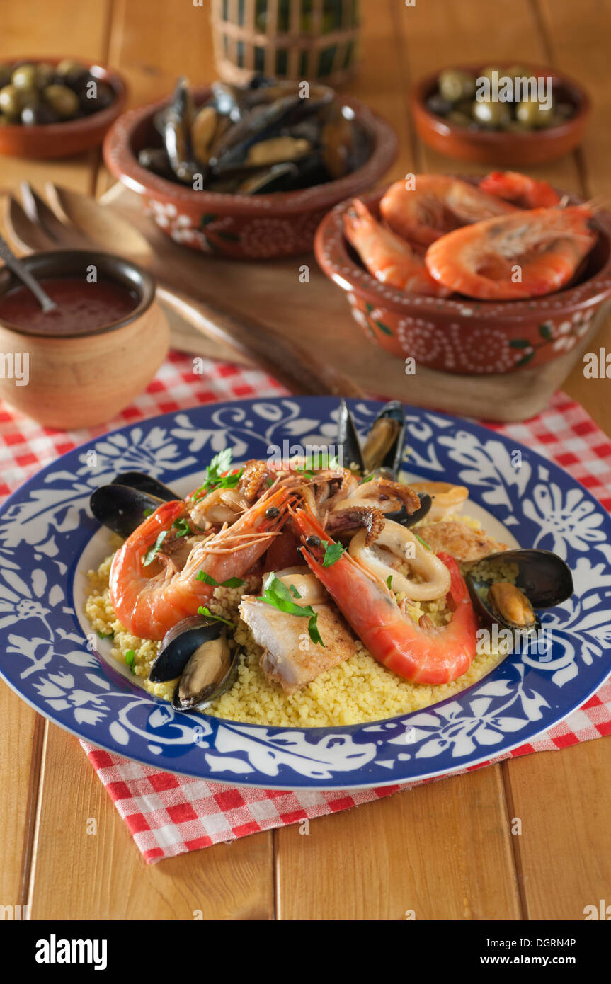 Couscous Alla Trapanese. Sicilian Seafood Couscous Stock Photo ...