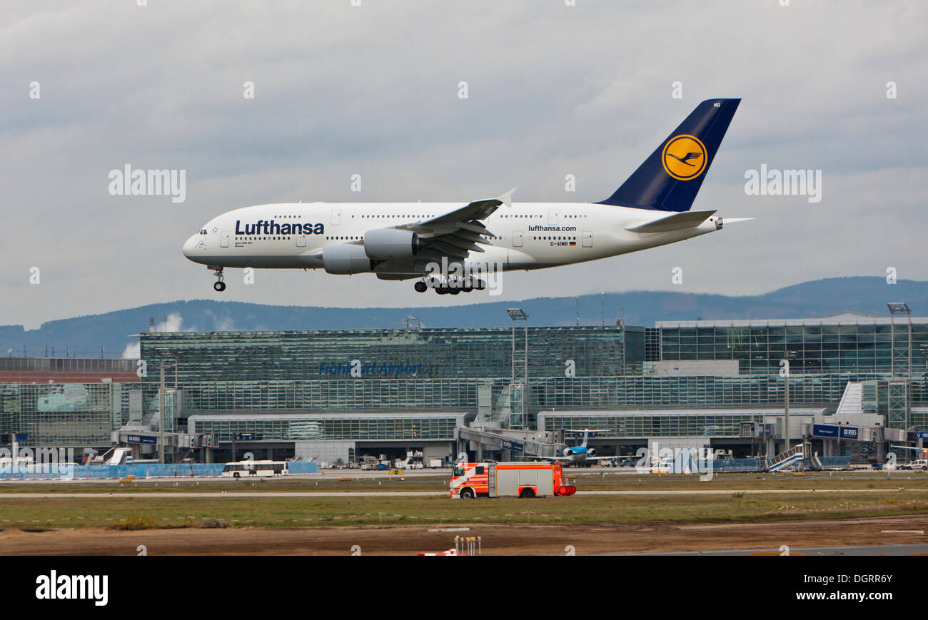 lufthansa airbus a380 landing at frankfurt airport a fire truck stock photo royalty free image. Black Bedroom Furniture Sets. Home Design Ideas