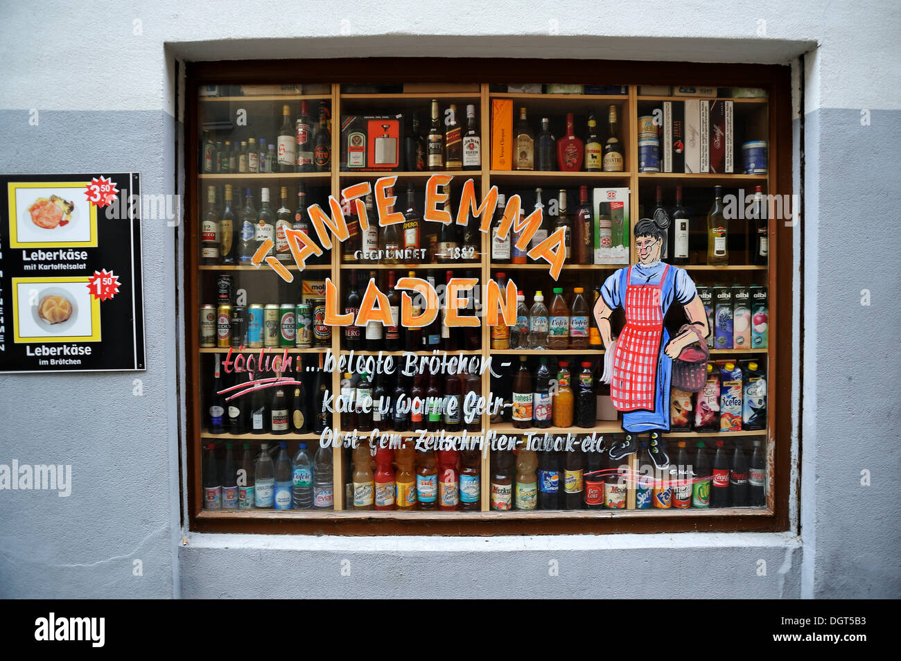 shop window of a tante emma laden german for small corner shop stock photo royalty free. Black Bedroom Furniture Sets. Home Design Ideas