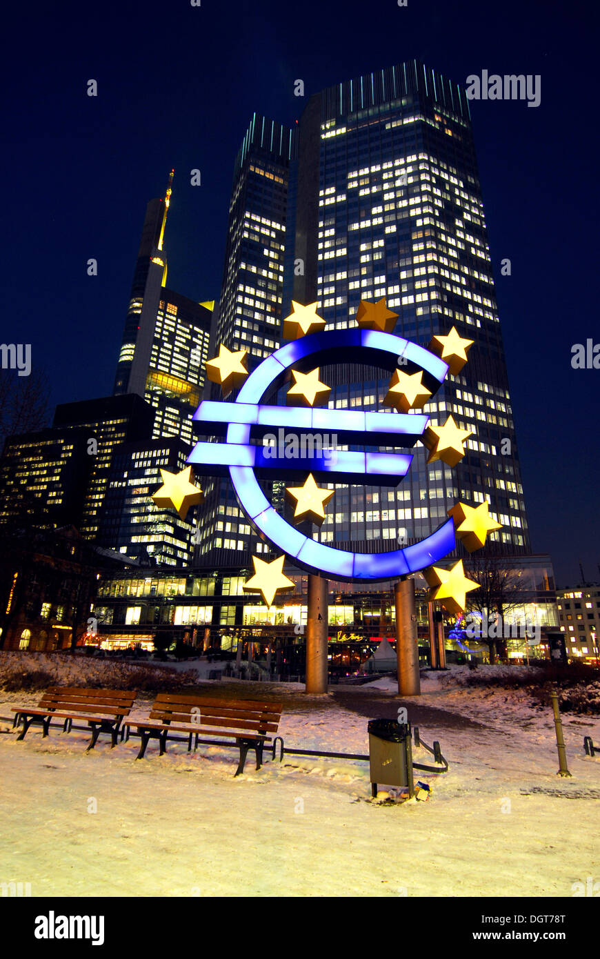 Euro sculpture symbol of the european currency ecb european stock euro sculpture symbol of the european currency ecb european central bank in the evening snowy willy brandt platz square biocorpaavc Images