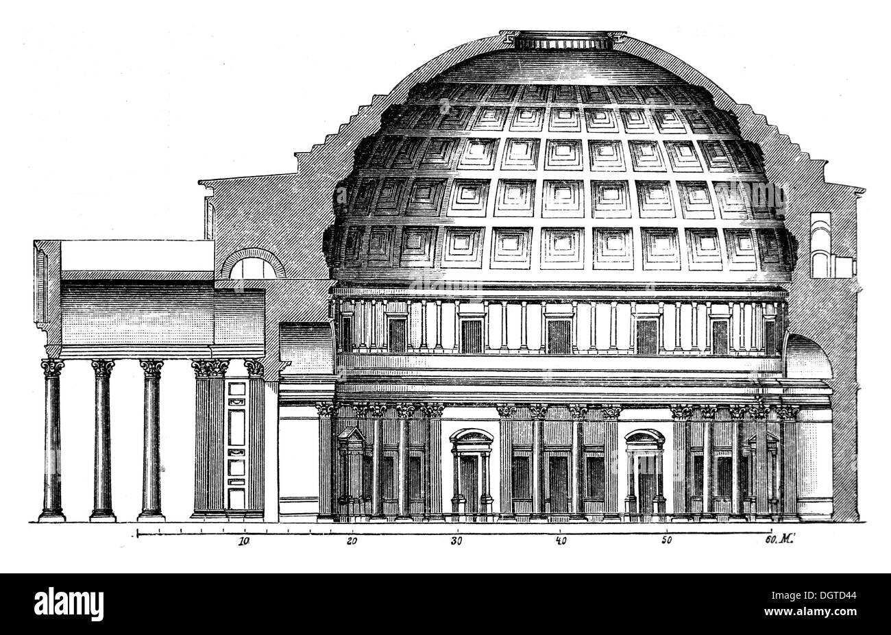 Longitudinal Section Of The Pantheon In Rome Illustration