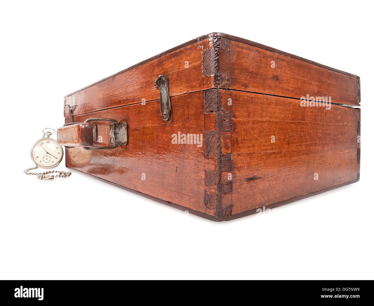 vintage wooden suitcase and pocket watch with chain Stock Photo ...