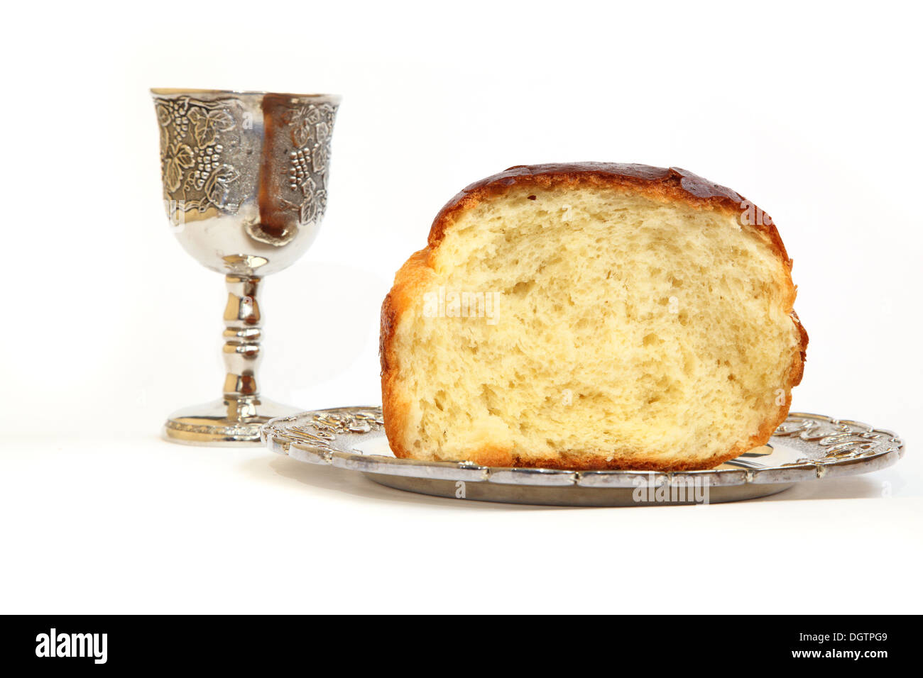 Holy Communion. The bread and wine grapes Stock Photo ...